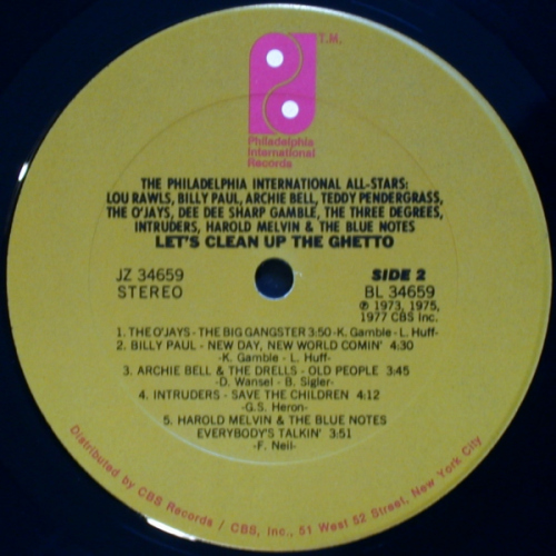 Various - The Philadelphia International All-Stars - Lets Clean Up The Ghetto (JZ 34659) 1977 Side B