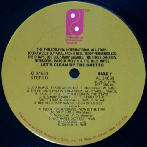 VA - The Philadelphia International All-Stars - Lets Clean Up The Ghetto (JZ 34659) 1977 Side A