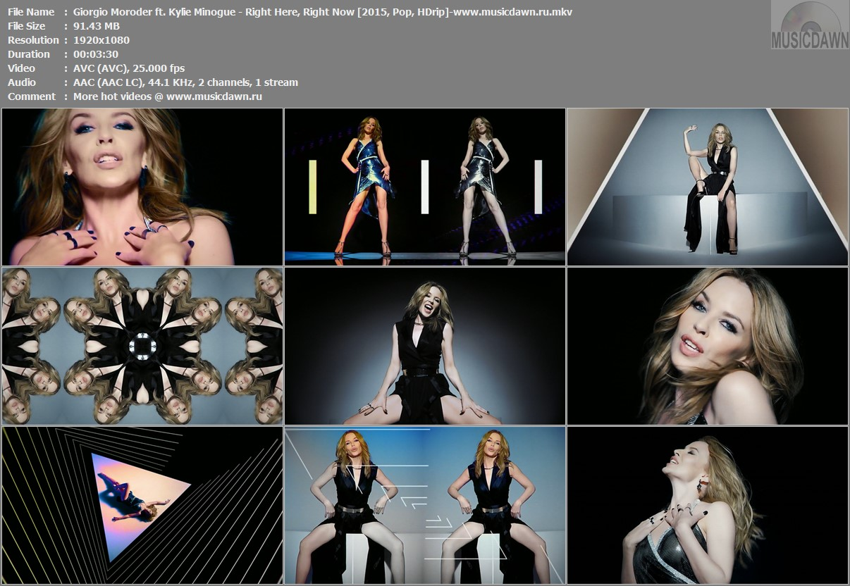 Клип Giorgio Moroder ft. Kylie Minogue - Right Here, Right Now [2015, HD 1080p]